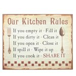 Enamel Sign Kitchen Rules 71 cm
